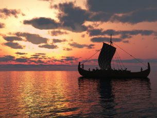 Viking longship sailing on a calm sea at sunset, 3d digitally rendered illustration